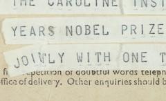 Telegram announcing Francis Crick's Nobel prize.
