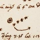 Galileo's drawing of Jupiter and its moons, 1609.