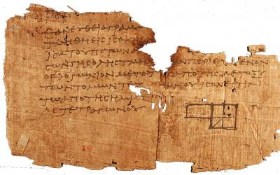 Oxyrhynchus papyrus, showing one of the oldest fragments of Euclid's Elements