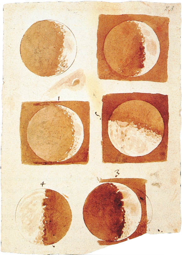 Galieo's illustration of the phases of the moon, 1616.