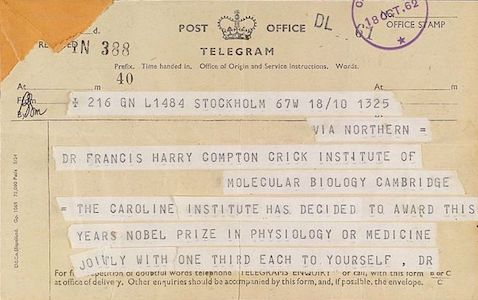 Telegram announcing Francis Crick's Nobel prize, Wellcome Images.  Wikimedia Commons, https://commons.wikimedia.org/wiki/File:Part_1_of_a_two_part_telegram_to_F._Crick._Nobel_Prize_Wellcome_L0032968.jpg