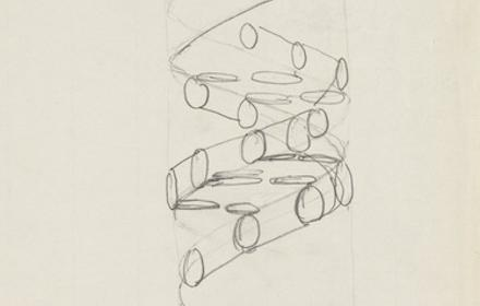 Pencil sketch of the DNA double helix by Francis Crick.