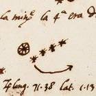 Galileo's drawing of Jupiter and its moons, 1609.