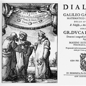 Frontispiece and title page of Galileo's Dialogue Concerning the Two Chief World Systems, 1632.